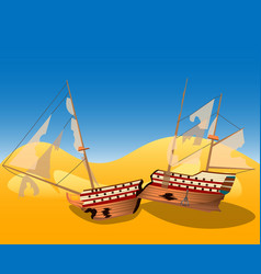 a broken ship on a deserted island vector image