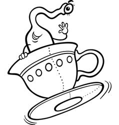 alien cartoon for coloring book vector image