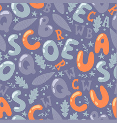alphabet letters in seamless pattern vector image