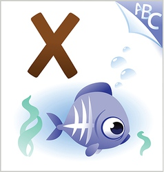 Animal alphabet for kids x for x-ray fish vector