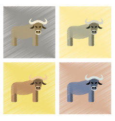 Assembly flat shading style icons cartoon bull vector