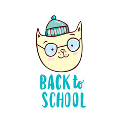 Back to school with cartoon cat vector