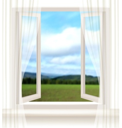 Background with an open window and a landscape vector image