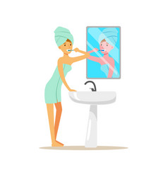 Beautiful woman character with towel on her head vector