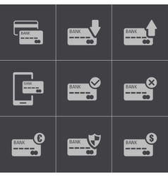 Black credit card icons set vector