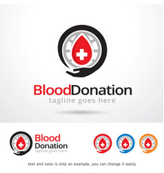 Blood donation logo template vector
