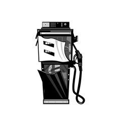 Broken Fuel Pump Station Retro vector