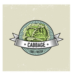 cabbage vintage set of labels emblems or logo for vector image