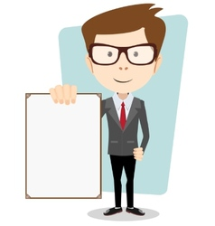 Cartoon business man explaining and pointing at vector image