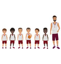 Cartoon flat school boys basketball kids vector
