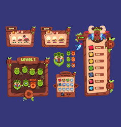 cartoon game ui wooden elements and popup menu vector image