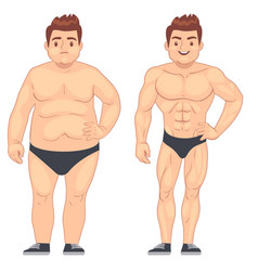 Cartoon muscular and fat man guy before and after vector