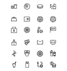 Casino and Gambling Outline Icons 3 vector