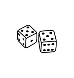 casino dice line icon in flat style icon for apps vector image