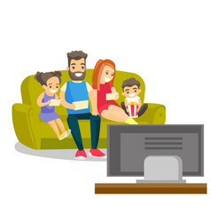 caucasian white family watching television at home vector image