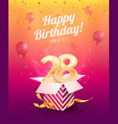 celebrating 28 th years birthday vector image