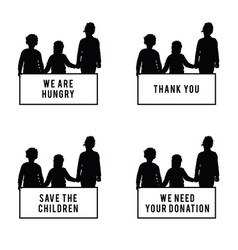 children with card donation and hungry vector image