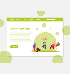 children yoga classes banners template boys and vector image