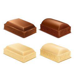 Chocolate pieces brown and white milk bars vector