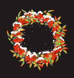 christmas wreath with red berries vector image