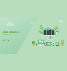 cloud computing concept with database server for vector image