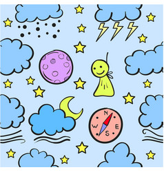 Cloud set doodles vector