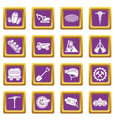 coal mine icons set purple square vector image