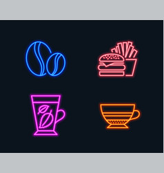 Coffee beans burger and mint leaves icons mocha vector