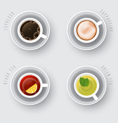 coffee tea and cappuccino set vector image