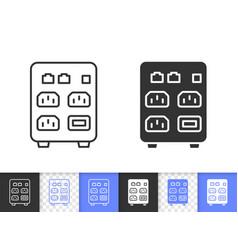 Computer ups simple black line icon vector
