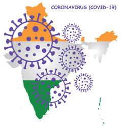 Coronavirus covid 19 india map vector