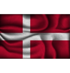 Crumpled flag of denmark on a light background vector