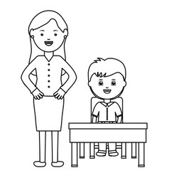 cute little student boy with female teacher in vector image