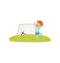 Cute smiing boy threw the ball into the goal kids vector