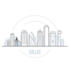 Dallas cityscape with main landmarks dallas vector