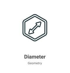 Diameter outline icon thin line black diameter vector