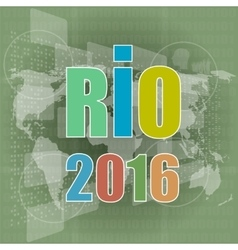 Digital screen Sign symbol Rio olympics games vector image