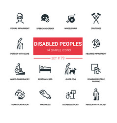 Disabled people - line design silhouette icons set vector