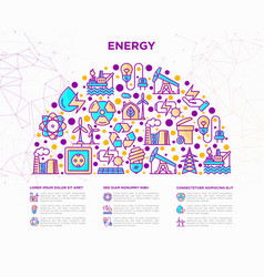 Energy concept in half circle with thin line icons vector