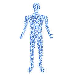 Euro symbol human figure vector