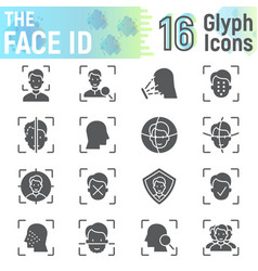 Face id glyph icon set face recognition symbols vector