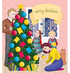 family new year Xmas2 vector image