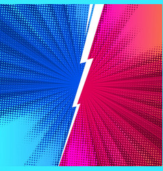 Fight comics style backgrounds with lightning vector
