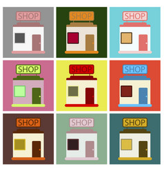 Flat icons set shop vector