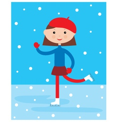 Girl on a skating rink vector