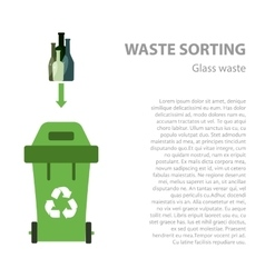 Glass waste sorting flat concept vector