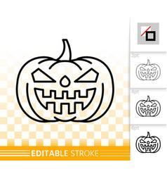 halloween pumpkin jack o lantern simple line icon vector image