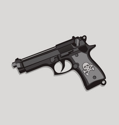 handgun with a skull on side vector image