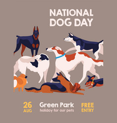 Happy national dog day 26 august poster vector