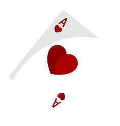 Isolated ace hearth vector